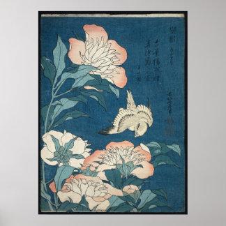 Pioner och kanariefågel av Katsushika Hokusai 1834 Poster