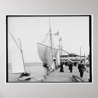 Pir Atlantic City, New Jersey c1905 vintage Poster