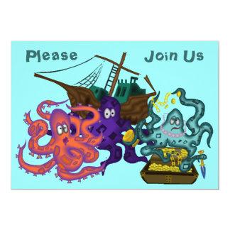 Pirat begravd undervattens- livinbjudan för skatt 12,7 x 17,8 cm inbjudningskort