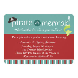 Pirat- eller sjöjungfrugender avslöjer baby 12,7 x 17,8 cm inbjudningskort