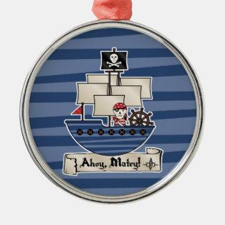 Pirat för skalle för piratfrakt | skelett- Matey | Julgransprydnad Metall