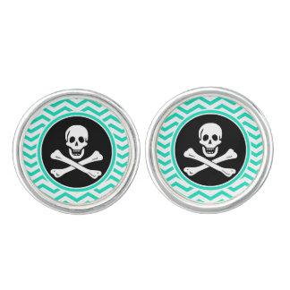 Pirat; Grön sparre för Aqua Manschettknappar