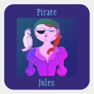 Pirat Jules den Eco Piratklistermärken Fyrkantigt Klistermärke
