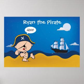 Pirat med fraktdekoren för ett barnrum - affisch