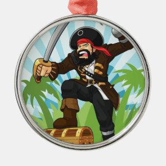 Pirat med hans skattbröstkorg julgransprydnad metall