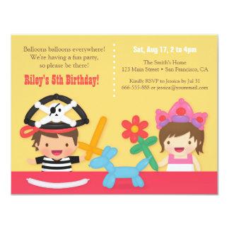 Pirat- och för Princess Svälla barns 10,8 X 14 Cm Inbjudningskort