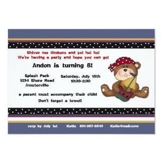 Piratbjörninbjudan 12,7 X 17,8 Cm Inbjudningskort
