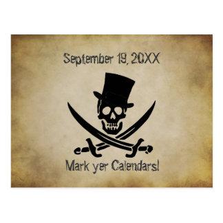 Piratbröllop spara datumvykort vykort