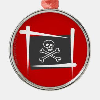 Piraten borstar flagga julgransprydnad metall