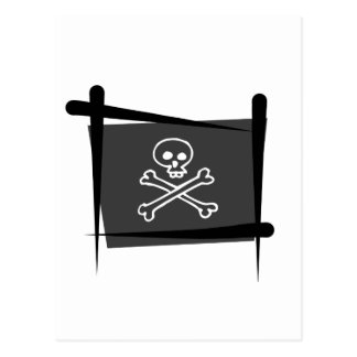 Piraten borstar flagga vykort