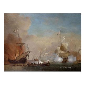 Pirater anfaller en engelsk sjö- skyttelmålning vykort