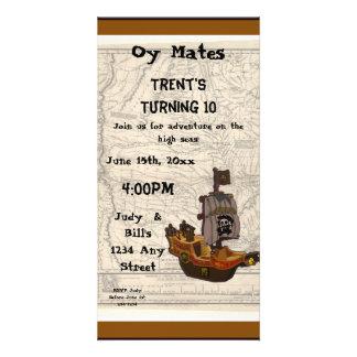 Piratfartyg- och kartafödelsedag fotokort