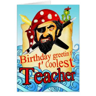 Piratfödelsedagkort för lärare hälsningskort
