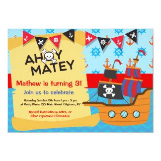Piratfödelsedagsfest, Ahoy Matey 12,7 X 17,8 Cm Inbjudningskort