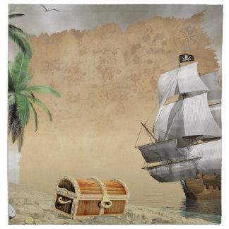 Piratfrakt som upptäcker en skatt servett