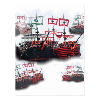 Piratfrakter lämnar för en bra resa vykort