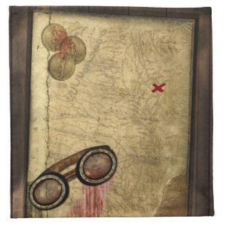 Piratkarta, guldmynt och servetter