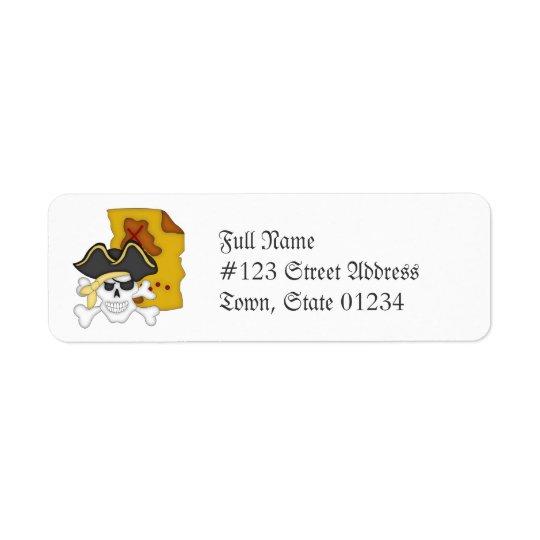 Piratkarta och Crossbones som postar etiketter Returadress Etikett