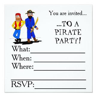 Piratpartyinbjudan Fyrkantigt 13,3 Cm Inbjudningskort