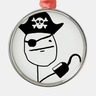 Piratpokeransikte - meme julgransprydnad metall