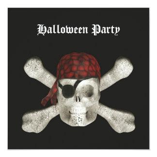 Piratskalle - halloween festinbjudan fyrkantigt 13,3 cm inbjudningskort