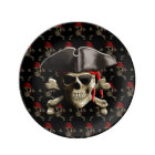 Piratskalle och hatt porslinstallrik