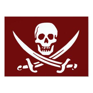 Piratskalle och svärd, Jolly Roger 12,7 X 17,8 Cm Inbjudningskort