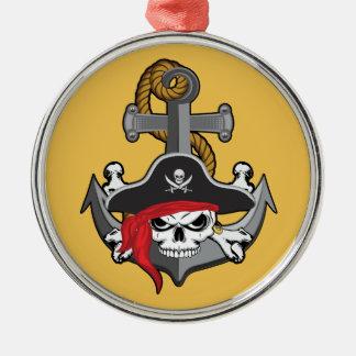 Piratskallen ankrar julgransprydnad metall