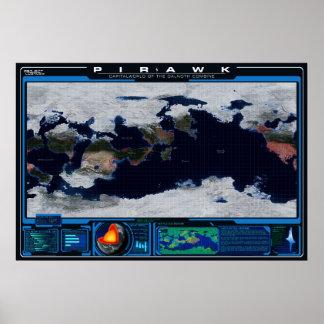 Pirawk planetkartbok poster