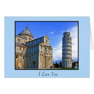 Pisa det lutande torn med kärlekcitationstecken hälsningskort