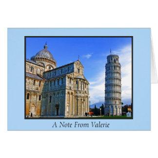 Pisa det lutande torn med kärlekcitationstecken OBS kort