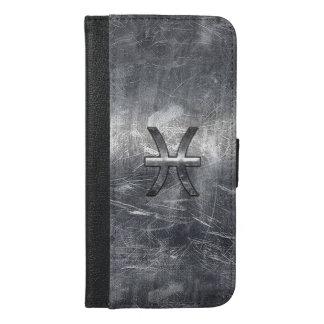 Pisces som Zodiac undertecknar i Grungesilver, iPhone 6/6s Plus Plånboksfodral