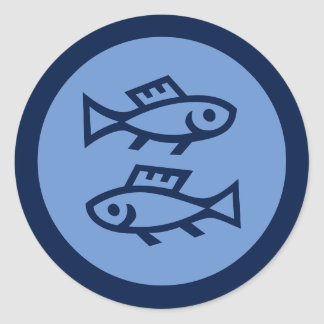 Pisces Zodiac undertecknar blått Runt Klistermärke