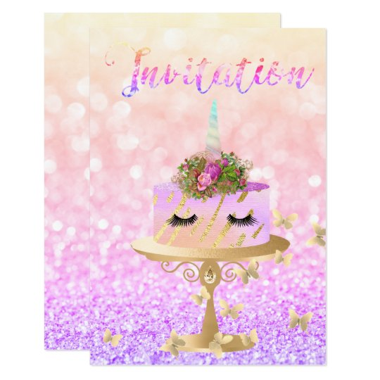 Piskar rosa guld- glitter för tårtaUnicorn 8,9 X 12,7 Cm Inbjudningskort