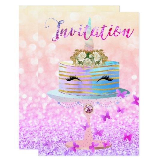 Piskar rosa guld- glitter för tårtaUnicorn ljusa 8,9 X 12,7 Cm Inbjudningskort