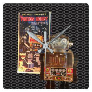 Pistongrobot - den Retro väggen tar tid på Fyrkantig Klocka