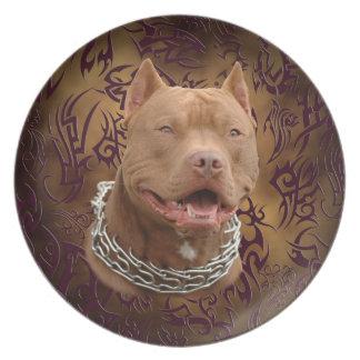 Pitbull brun stam- tatuering tallrik