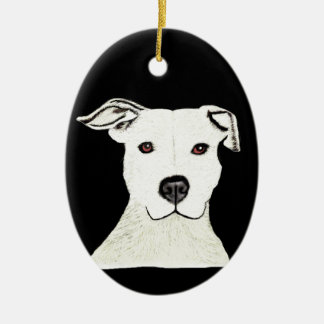 Pitbull hund aveln julgransprydnad keramik
