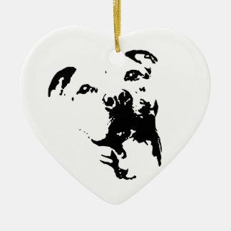 Pitbull hund julgransprydnad keramik