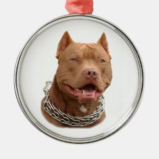 Pitbull hund julgransprydnad metall