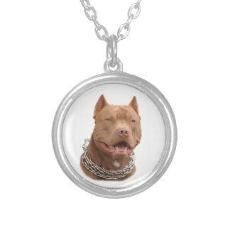 Pitbull hund silverpläterat halsband