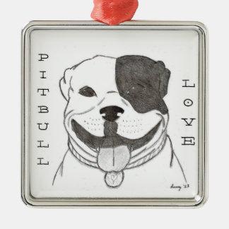 Pitbull kärlekprydnad julgransprydnad metall