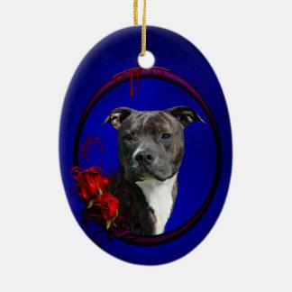 Pitbull och blodiga ro julgransprydnad keramik