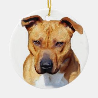 Pitbull prydnad julgransprydnad keramik