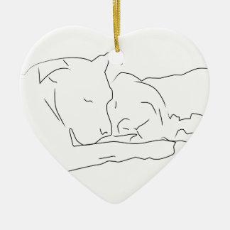Pitifully förälskat julgransprydnad keramik