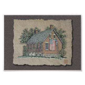 Pittoreskt hus & amerikanska flaggan fotografiska tryck