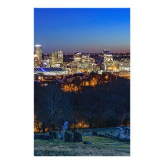 Pittsburgh horisont på solnedgången brevpapper