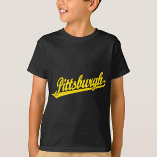 Pittsburgh skrivar logotypen i guld tshirts