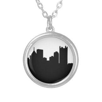 Pittsburgh stadshorisont silverpläterat halsband