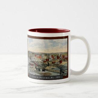 Pittsburghen pekar kaffemuggen 1931 Två-Tonad mugg